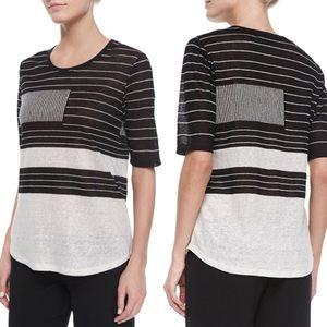 Vince 100% Linen Striped Slub Tee Top Shirt Sz S